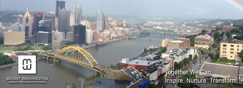 Mount Washington and downtown Pittsburgh from above with rainbow